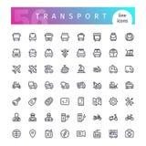 Línea de transporte iconos fijados Fotos de archivo libres de regalías