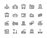 Línea de transporte iconos Viaje público de la ciudad de la carretilla del servicio del taxi del vehículo del barco de la tranvía stock de ilustración