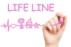 Línea de vida, marcador rosado Fotografía de archivo libre de regalías