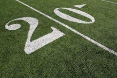 Línea de yardas del fútbol americano veinte Foto de archivo libre de regalías