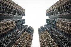 Línea del cielo del bloque de Hong Kong Foto de archivo libre de regalías