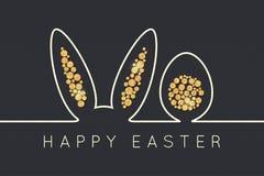 Línea del conejito de pascua Fondo de oro del diseño del huevo stock de ilustración