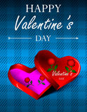 Línea del día de tarjetas del día de San Valentín Fotos de archivo libres de regalías