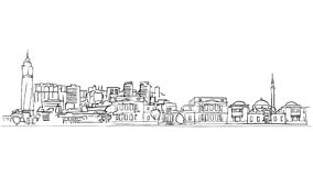 Línea del dibujo del uno mismo de Sarajevo Bosnia y Herzegovina libre illustration