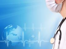 Línea del doctor y del ecg con el fondo médico fotos de archivo libres de regalías
