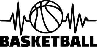Línea del latido del corazón del baloncesto stock de ilustración