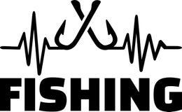 Línea del latido del corazón de la pesca con los anzuelos cruzados libre illustration