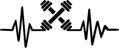 Línea del latido del corazón del levantamiento de pesas ilustración del vector
