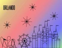 Línea del negro de Orlando Atractions en fondo colorido del arco iris Montaña rusa, rueda grande, castillo y fuegos artificiales stock de ilustración