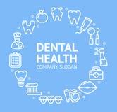 Línea dental concepto de la plantilla del diseño de la ronda de la salud del icono Vector libre illustration