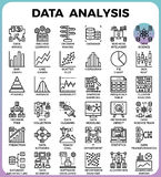 Línea detallada iconos del concepto del análisis de datos ilustración del vector