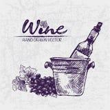 Línea detallada vino del color de Digitaces del arte ilustración del vector