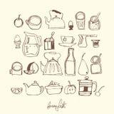 Línea determinada ejemplo de los iconos del desayuno libre illustration