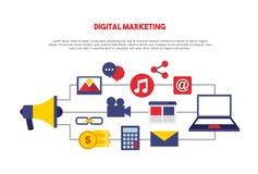 línea determinada iconos del márketing digital libre illustration