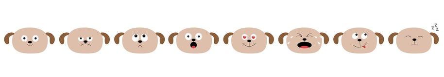 Línea determinada linda de la cabeza de perro Caracteres divertidos del kawaii de la historieta Colección de la emoción Feliz, so stock de ilustración