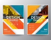 Línea diagonal roja y anaranjada aviador de la cubierta del informe anual del folleto libre illustration