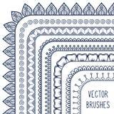 Línea dibujada mano étnica sistema del vector de la frontera y Imagen de archivo