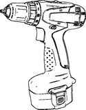 Línea dibujada mano Art Drill /eps Imagenes de archivo