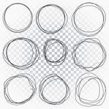 Línea dibujada mano círculos bosquejados fijados Los círculos del garabato del garabato para la marca del mensaje diseñan el elem stock de ilustración