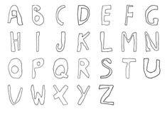 Línea dibujada mano contorno del alfabeto inglés del niño Fotos de archivo libres de regalías