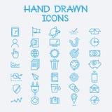 Línea dibujada mano empresa de gestión del negocio de los iconos Fotografía de archivo libre de regalías