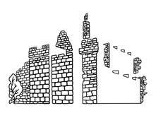 Línea dibujo de la pared de Jerusalén del vector del arte Ejemplo de la biblia del libro de colorear Ciudad vieja ruinas stock de ilustración