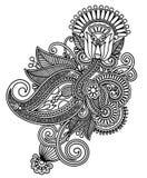Línea diseño adornado de la flor del arte stock de ilustración