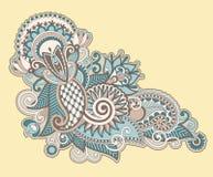 Línea diseño adornado del drenaje de la mano de la flor del arte Fotos de archivo