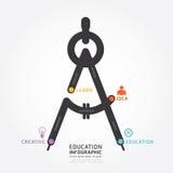 Línea diseño de la educación de Infographic de la plantilla del concepto Concepto Imagen de archivo libre de regalías