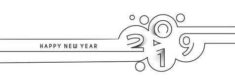 Línea diseño de la Feliz Año Nuevo 2019 del texto libre illustration