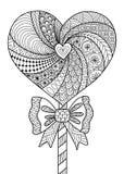 Línea diseño de la piruleta del corazón del arte para el libro de colorear para el adulto, el diseño y otras decoraciones - acció stock de ilustración