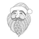 Línea diseño del arte de Santa Claus sonriente para el elemento del diseño y la página del libro de colorear del adulto Ilustraci Imágenes de archivo libres de regalías