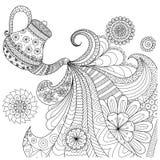 Línea diseño del arte del té de colada de la tetera Fotografía de archivo libre de regalías