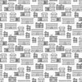 Línea diseño inconsútil del modelo de las casas del arte ilustración del vector