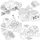 Línea diversos productos de carne del arte Fotos de archivo
