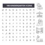 Línea editable iconos, sistema de 100 vectores, colección de la guardería Ejemplos del esquema del negro de la guardería, muestra stock de ilustración