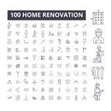 Línea editable iconos, sistema de 100 vectores, colección de la renovación casera Ejemplos negros del esquema de la renovación ca libre illustration
