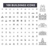 Línea editable iconos, sistema de 100 vectores, colección de los edificios Ejemplos negros del esquema de los edificios, muestras stock de ilustración