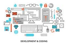 Línea editable plana moderna ejemplo del vector del diseño, concepto de programación, software de desarrollo y proceso de codific stock de ilustración