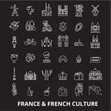 Línea editable sistema de Francia del vector de los iconos en fondo negro Ejemplos blancos del esquema de Francia, muestras, símb ilustración del vector