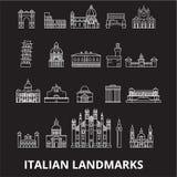 Línea editable sistema de los landmakrs italianos del vector de los iconos en fondo negro Ejemplos blancos del esquema de los lan stock de ilustración