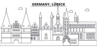 Línea ejemplo de Alemania, Lubeck del vector del horizonte Paisaje urbano linear con las señales famosas, vistas de Alemania, Lub ilustración del vector