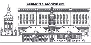 Línea ejemplo de Alemania, Mannheim del vector del horizonte Paisaje urbano linear con las señales famosas, ciudad de Alemania, M ilustración del vector