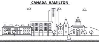 Línea ejemplo de Canadá Hamilton del horizonte Paisaje urbano linear con las señales famosas, vistas de la ciudad, iconos del vec Imagenes de archivo