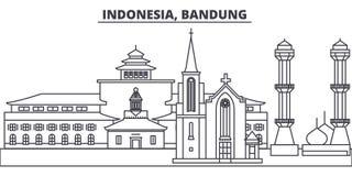 Línea ejemplo de Indonesia, Bandung del vector del horizonte Paisaje urbano linear con las señales famosas, ciudad de Indonesia,  libre illustration