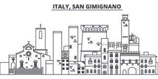 Línea ejemplo de Italia, San Gimignano del vector del horizonte Paisaje urbano linear con las señales famosas, ciudad de Italia,  stock de ilustración
