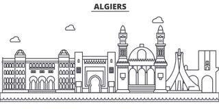Línea ejemplo de la arquitectura de Argel del horizonte Paisaje urbano linear con las señales famosas, vistas de la ciudad, icono ilustración del vector