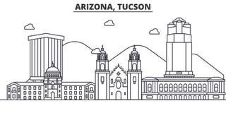 Línea ejemplo de la arquitectura de Arizona Tucson del horizonte Paisaje urbano linear con las señales famosas, vistas del vector stock de ilustración