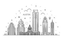 Línea ejemplo de la arquitectura de Austin del horizonte Paisaje urbano linear del vector con las señales famosas stock de ilustración