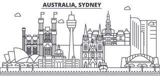 Línea ejemplo de la arquitectura de Australia, Sydney del horizonte Paisaje urbano linear con las señales famosas, vistas del vec libre illustration